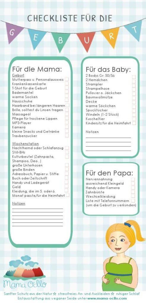 Kliniktasche packen für Mama, Papa und Baby Checkliste