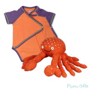 Nachhaltiges Babygeschenk Krebs und Wickelbody Orange Lila (5)
