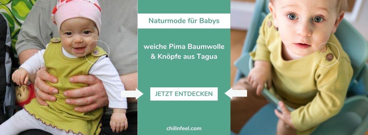 Babymode mit Knöpfen aus Steinnuss