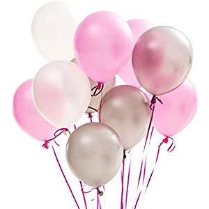 Babyshower_In 6 Schritten zur perfekten Babyparty_Luftballons Rosa Weiß Grau