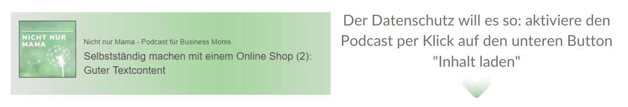 Podcast_Selbstständig mit Onlineshop_Text Content_nichtnurmama