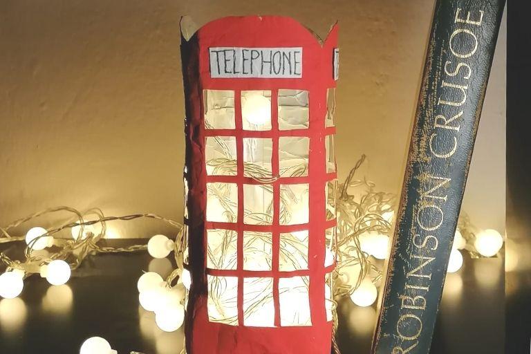 DIY Nachtlicht Londoner Telefonzelle aus Tetra Pak